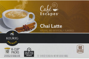 Cafe Escapes Chai Latte K-Cup Packs - 12 PK