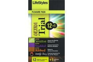 LifeStyles Pleasure Pack Ultra Premium Lubricated Latex Condoms Trial - 13 CT