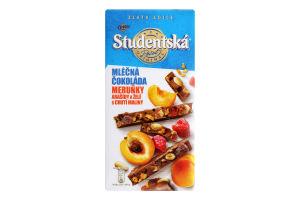 Шоколад молочний з арахісом, желейними шматочками та шматочками абрикоса Studentska м/у 170г