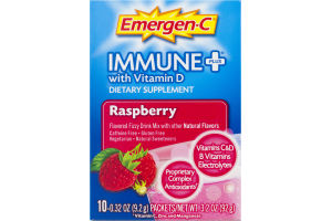 Emergen-C Immune+ Dietary Supplement System Support With Vitamin D Flavored Fizzy Drink Mix Raspberry - 10 CT