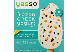 Yasso Frozen Greek Yogurt Bars Toffee Caramel Chocolate Chip - 4 CT