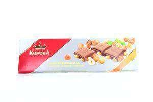 Шоколад Корона молочный с целыми лесными орехами 200г