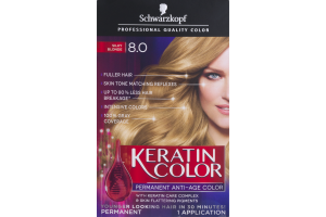 Schwarzkopf Keratin Color Permanent Anti-Age Hair Color 8.0 Silky Blonde