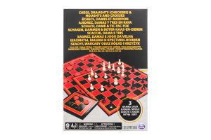 Набір ігор для дітей від 6 років Шахи Шашки і Хрестики-нулики Spin Master 1шт