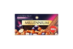 Шоколад молочний з цілими лісовими горіхами та родзинками Gold Millennium к/у 100г