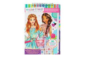 Блокнот для дітей від 8років з трафаретами для створення модних колекцій №MR3202 Квіткова фантазія Make it Real 134шт
