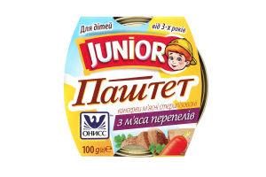 Паштет Онисс из мяса перепелов Junior