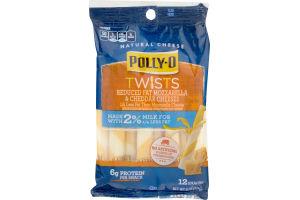 Polly-O Twists Reduced Fat Mozzarella & Cheddar Cheeses Snacks - 12 CT