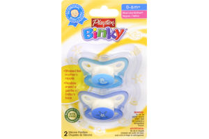 Playtex Binky 0-6 Months+ Silicone Pacifiers