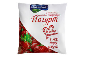 Йогурт 1.6% Полуниця Гармонія м/у 400г