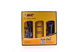 Набір BIC Flex 4 Comfort станок 2шт + піна для гоління х10//