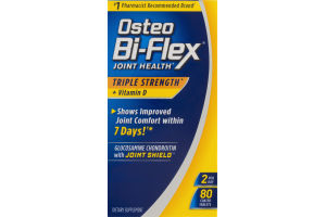 Osteo Bi-Flex Joint Health Triple Strength + Vitamin D Coated Tablets Dietary Supplement - 80 CT