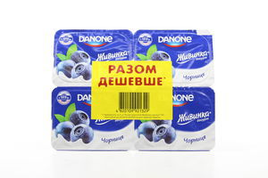 Йогурт 1,5% Черника Живинка Danone уп 4*115г/460 г