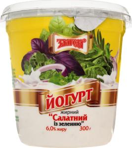 Йогурт 6% Салатный с зеленью Злагода 300г