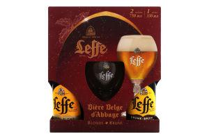 Набір пиво 0.75л 6.4% светлое пастеризованное Blonde+пиво 0.75л 6.3% темное пастеризованное Brune+бокал 0.33л Leffe 1шт