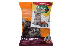 Набор Корм сухой с курицей для кошек 100г+Соус для сухого корма для кошек 15мл Для Друга 1шт