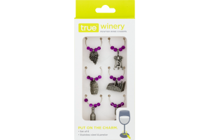 True Winery Pewter Wine Charms - 6 CT