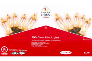 Smart Living Holiday Clear Mini Lights - 100 CT