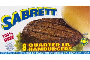 Sabrett 100% Beef Quarter LB. Hamburgers - 8 CT