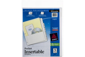 Avery Pocket Insertable Dividers - 5 Tab
