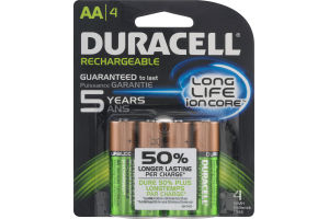 Duracell Rechargeable Batteries Long Life Ion Core AA - 4 CT