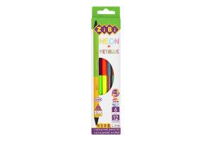 Карандаши цветные двухсторонние №ZB.2465 Kids Line Neon+Metallic ZiBi 6шт