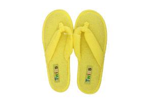 Тапочки-вьетнамки комнатные женские махровые Twins 37 желтые