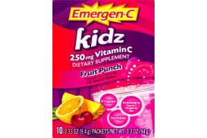 Emergen-C Kids 250mg Vitamin C Dietary Supplement Fruit Punch Packets - 10 CT
