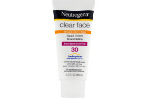 Neutrogena Clear Face Break-Out Free Liquid-Lotion Sunscreen Broad Spectrum SPF 30