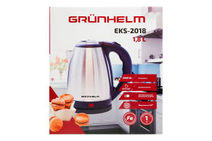 Електрочайник GRUNHELM EKS-2018 (металл) NEW 1,8л, 2000 Вт, дисковый