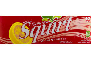 Ruby Red Squirt Thirst Quencher Naturally Flavored Citrus and Berry Soda - 12 CT