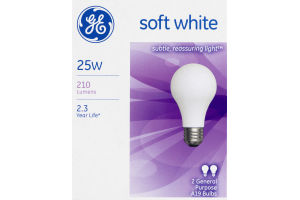 GE Soft White 25W General Purpose Bulbs - 2 CT