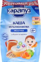 Каша молочна для дітей від 6міс з яблуком і персиком Мультизлакова Карапуз м/у 400г
