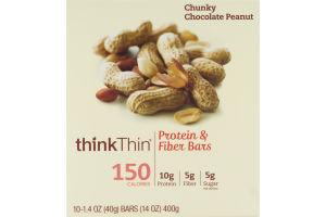 thinkThin Protein & Fiber Bars Chunky Chocolate Peanut - 10 CT