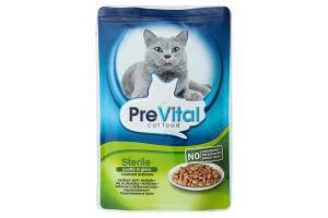Пауч для стерилізованих котів з птахом в соусі PreVital 172768 100 г