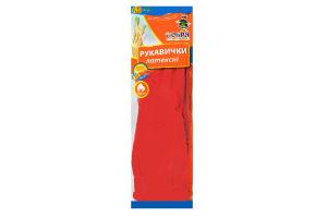 Перчатки латексные с длинным манжетом красный размер M Добра Господарочка 1пара