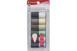 Singer Polyester Hand Sewing Thread Spools - 12 CT