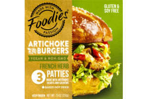 Foodies Artichoke Burgers French Herb Patties - 3 CT