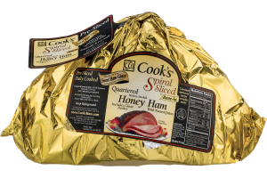 Cook's Quartered Bone-In Hickory Smoked Honey Ham with Glaze Packet Spiral Sliced