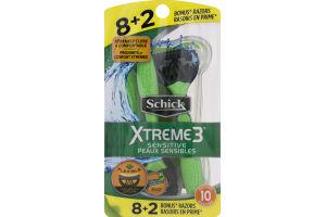 Schick Xtreme3 Disposable Razors Sensitive - 10 CT