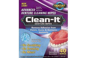 Clean-It Denture Wipes - 40 CT
