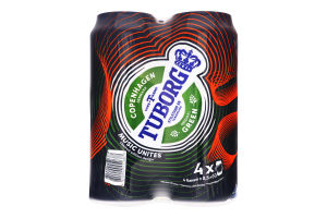 Пиво 4х0.5л 4.6% светлое пастеризованное Green Tuborg ж/б