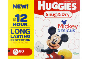 Huggies Snug & Dry Diapers Size 6 Mickey Designs - 80 CT