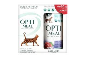 Сухий корм для котів з ефектом виведення шерсті - качка Optimeal 0,65 кг (набор картон 1+1)