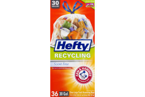 Hefty Recycling 30 Gallon Clear Large Trash Drawstring Bags - 36 CT