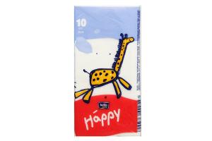 Хусточки носові 3х-шарові Happy Bella Baby 10шт