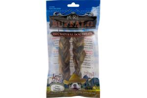 "Loving Pets Pure Buffalo 100% Natural Dog Treats 7"" Braided Bully Stick - 2 PK"
