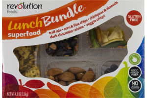 Revolution Foods Lunch Bundle Superfood Trail Mix - Corn & Flax Chips - Chickpeas & Almonds - Dark Chocolate Raisins - Veggie Crisps