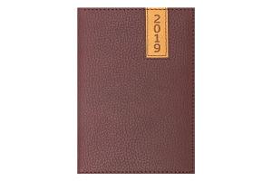 Ежедневник дат. 2019 VERTICAL, A6, 336 стр., коричневый