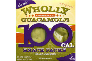 Wholly Guacamole Classic Guacamole 100 Cal Snack Packs